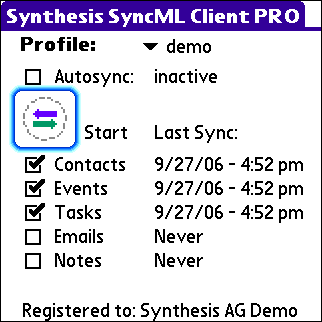 Synthesis SyncML Client PRO for PalmOS 3.0.2.27 Screen shot
